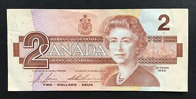 1986 Canadian 2$ Dollar Two Bank Note  - Canada Bill  No Reserve
