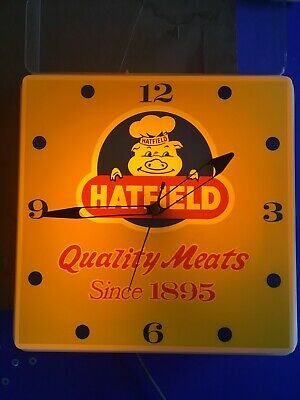 """Vintage Lighted Wall Clock """"Hatfield Quality Meats Since 1895""""- WORKS !!!"""