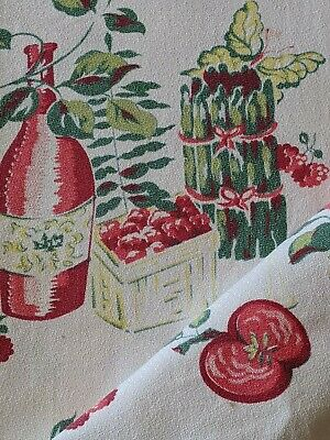 Vtg Fruit Asparagus Wine Floral TableCloth 52 x 48 Cotton Red Green Yellow MCM