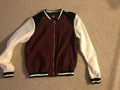 New Look 915 Generation Burgundy /cream Bomber Jacket Aged 12-13 Years