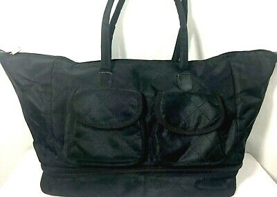 Duffel/tote Travel Overnight Bag / Luggage. Black Quilted Pattern Sateen Fabric