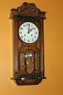 Vintage  Crova 31 Day Wind Up Pendulum Chime Wall Clock w/Key Carved Lions