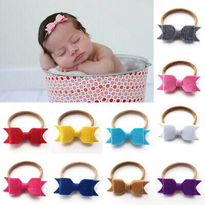 Baby cute Newborn Girl Felt Nylon Bow Headband Hairband Hair Accessories