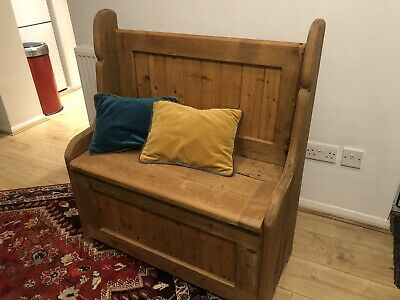 Wooden Church Pew / Monks Bench / Seat Settle With Storage