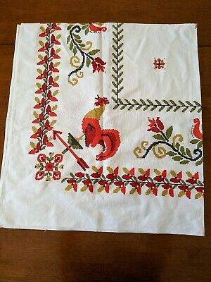 """Vintage Red Gold Green Printed Cotton Fabric Tablecloth  Roosters 52"""" x 46"""""""