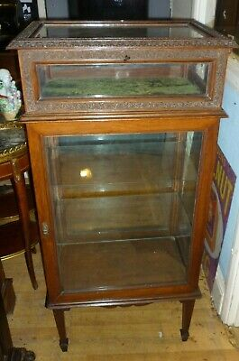 Antique Victorian Carved Mahogany Lockable Bijouterie Display Cabinet