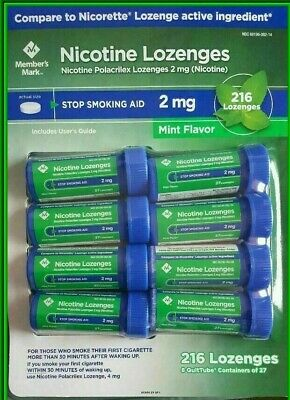 NEW Members mark mint flavor 216 lozenges 2mg stop smoking aid 12/2020