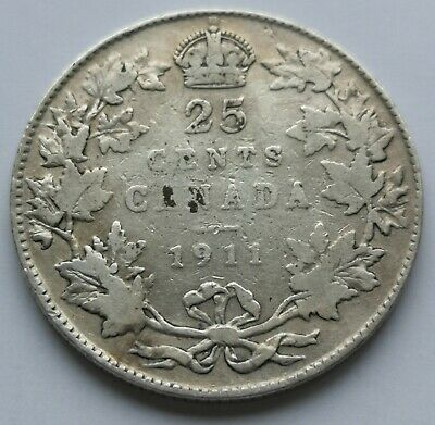 *** Canada  King  Georges V  25 Cents  1911  #2  ***  Better  Date  ***