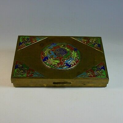 Chinese Hinged Enameled Brass Box Circa 1900, wood lining
