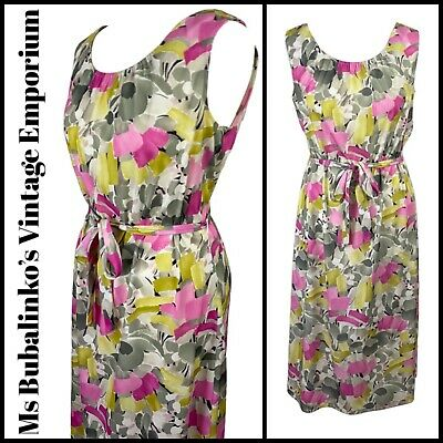 Size 14 Vintage Sundress 80s Abstract Floral Sleeveless Belted Midi Boho Summer