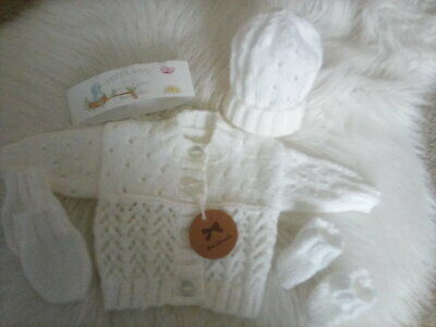 Hand Knitted White Baby Set: Cardigan, Hat, Mittens & Bootees - size newborn