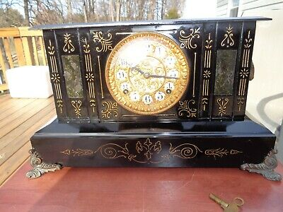 Antique Cast Iron Ansonia 8 Day Time and Strike Mantle Clock, 1882