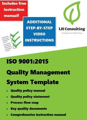 ISO 9001:2015 Quality Management System Template + step-by-step video guidance.