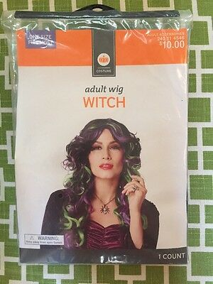 Adult Long Punk Rock Witch Multicolor Costume Wig