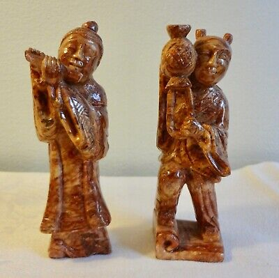 Vintage pair of hand carved Chinese brown soapstone figures