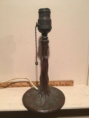 Antique Arts & Crafts Style Handel Tree Trunk Base Acorn Pull Table Desk Lamp