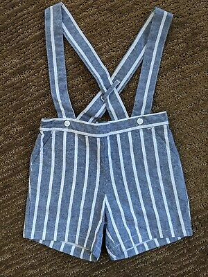 Janie And Jack Baby Boy Overall Shorts Blue And White Striped Size 12-18 Months