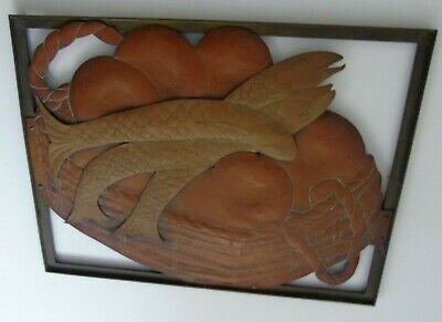 Arts And Crafts Copper Brass Bronze Cut Out Panel 3 Fish Basket Picture Plaque