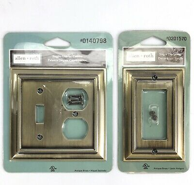 Allen+Roth Antique Brass Toggle-Duplex Combo Switch Metal Rocker Wall Plates NEW