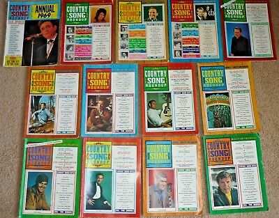 13 Issues 1969 Country Song Roundup Magazine Full Year & Annual, Country Music