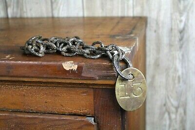 """Antique Brass Cow Cattle Tag w/ Chain """"un"""" Lucky 13 Old Farm Decor Double Sided"""