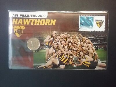 2013 pnc AFL HAWTHORN Coin ** LIMITED 13,000 ** Stamp Plastic Cover FREE POST Un