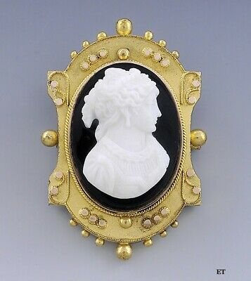 Victorian 14k Gold Onyx Cameo Of A Beautiful Woman Pendant Brooch Etruscan Style