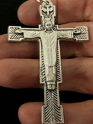 LRG Sterling Silver Filled Risen Christ King Crucifix Holy Trinity Cross Pendant
