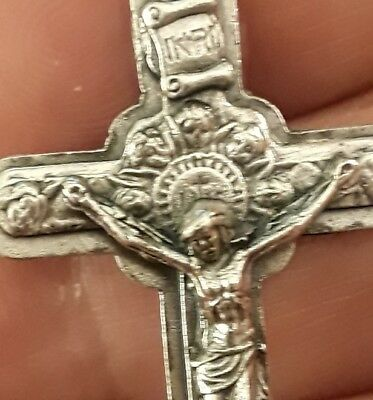 "LRG 2""+ Sterling Silver Filled Holy Angel Cherub St Crucifix Cross Pendant Rare"