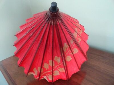 Vintage Child's Asian Red Leaf UMBRELLA PARASOL Paper & Bamboo w Packaging