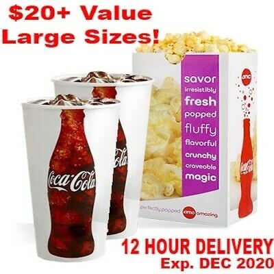 AMC Theaters (2x) Large Drinks And (1x) Popcorn Voucher Coke | 10 Hour Delivery