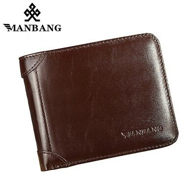 Mens Trifold Wallet Genuine Leather Credit Card ID Money Holder Purse Gift Box