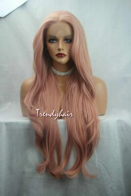 Rose Gold Peach Pink Long Soft Swiss Lace Front Hair Synthetic Women Trendy Wigs