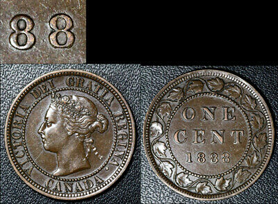 FEBRUARY SALE: Large Cent - 1888 Repunched Last 8/8 - AU VERY RARE (bg086)