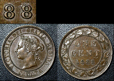 FEBRUARY SALE: Large Cent - 1888 Repunched Last 8/8 - AU VERY RARE (bg088)