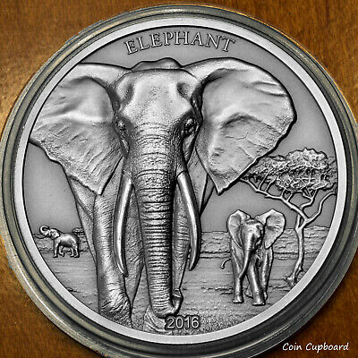 2016 - Tanzania 1000 Shillings - 1oz .999 silver ELEPHANT with all OMP