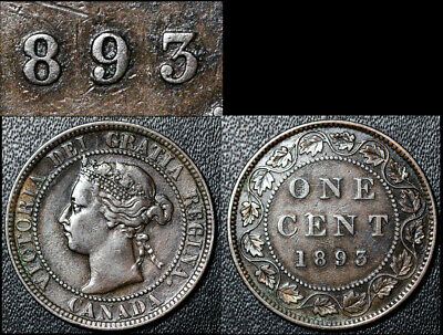 FEBRUARY SALE: Large Cent - 1893 Triple Punched 9 - VF VERY RARE (bg108)