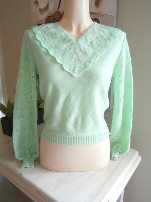 Vintage 60s Does 40s Mint Green Knit Knitted Pinup Sweater Jumper With Leaves!