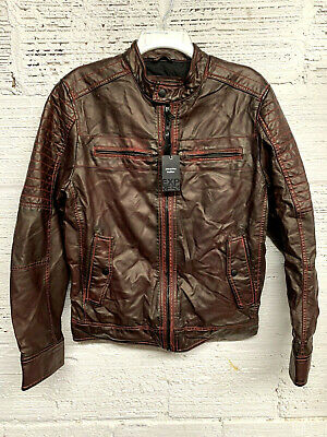 Express Mens Size S/P Soft Faux Leather Brown Jacket NWT Retail $228