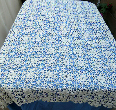 Vintage Handmade Crochet Lace Tablecloth Pinwheel Beige Cotton 52 x 64""
