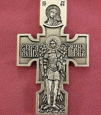 "Lrg 2 3/8"" Sterling Silver Filled St Michael Crucifix Cross Rare Pendant Medal"