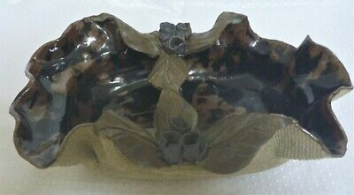 Large 30cm L Australian Pottery Gum Nuts & Leaves Divided Snack Dish Unused