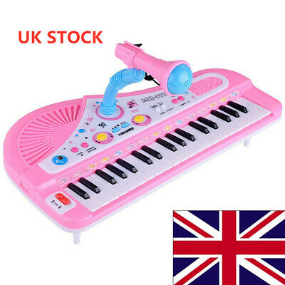 UK Pink 37 Keys Electronic Keyboard Piano Musical Toy with Mic Kids Gift