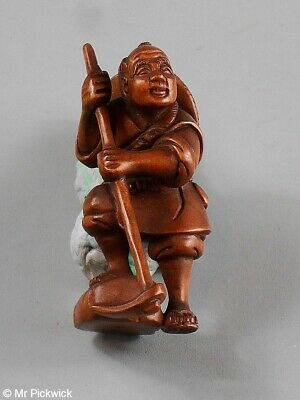 Man Netsuke Signed Boxwood Beautifully Hand Carved