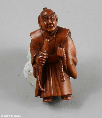 Netsuke Signed Boxwood Beautifully Hand Carved Ancient Warrior