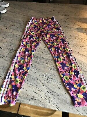 Adidas Girls Multi Coloured Floral Jersey Stretch Leggings UK Age 11-12 Years