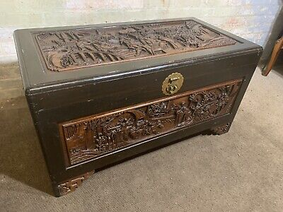 Vintage Oriental Chinese Carved Chest Trunk / Coffee Table . Delivery Available