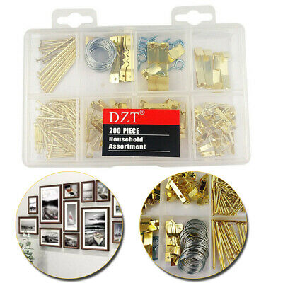 200pcs Heavy Duty Picture Hanging Kit With Wire Frame Hook Hangers Assortment