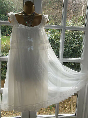 Vintage 1960/70s Double Layer Nylon Frilly Lacy Nightie Nightdress Gown 38""