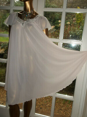 Vintage 80s Miss Elaine Soft Silky Pink Nylon Lacy Nightie Nightdress Gown 42""